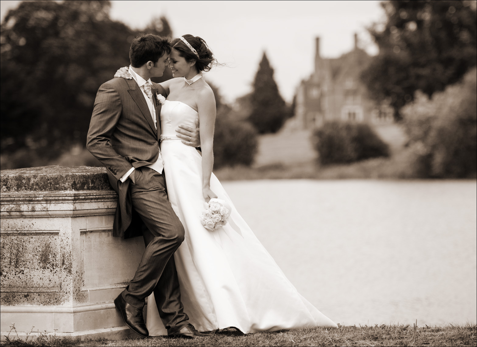 Bride Groom Bridge Stoke Park Paul Hampton Photographer